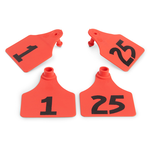 Allflex® Global Large Double Female Numbered Tags (with Studs) - Red, Numbers 1-25