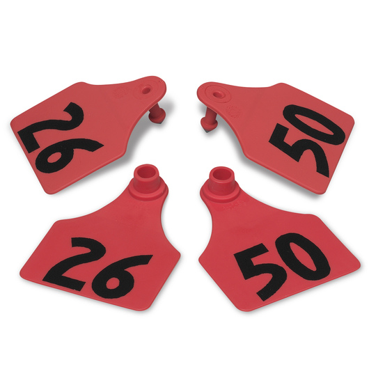 Allflex® Global Large Double Female Numbered Tags (with Studs) - Red, Numbers 26-50