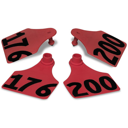Allflex® Global Large Double Female Numbered Tags (with Studs) - Red, Any Number 201-999