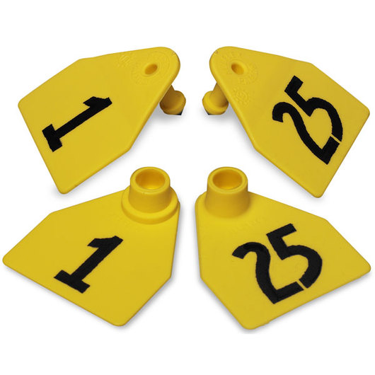 Allflex® Global Medium Double Female Numbered Tags (with Studs) - Yellow, Numbers 1-25