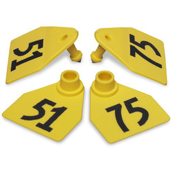 Allflex® Global Medium Double Female Numbered Tags (with Studs) - Yellow, Numbers 51-75
