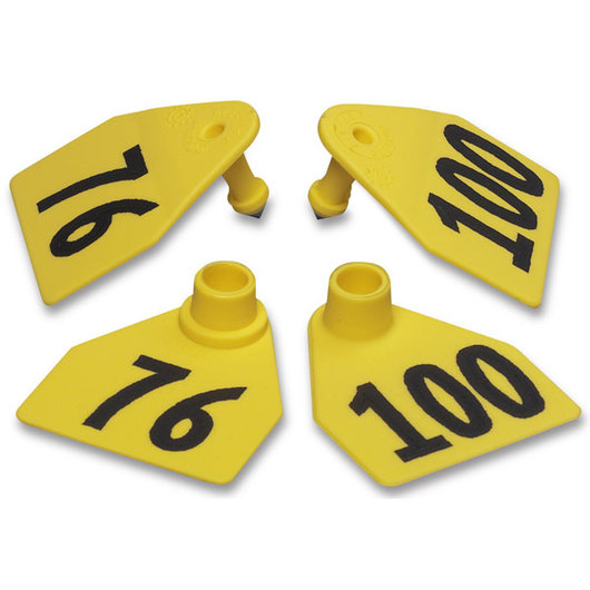Allflex® Global Medium Double Female Numbered Tags (with Studs) - Yellow, Numbers 76-100