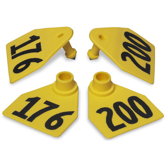 Allflex® Global Medium Double Female Numbered Tags (with Studs) - Yellow, Numbers Over 1,000