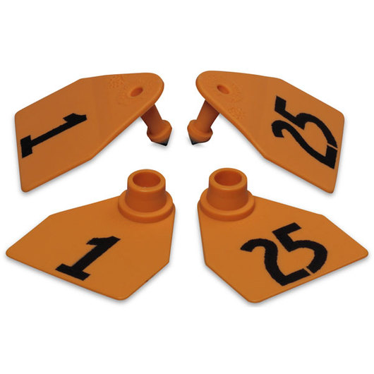 Allflex® Global Medium Double Female Numbered Tags (with Studs) - Orange, Numbers 1-25