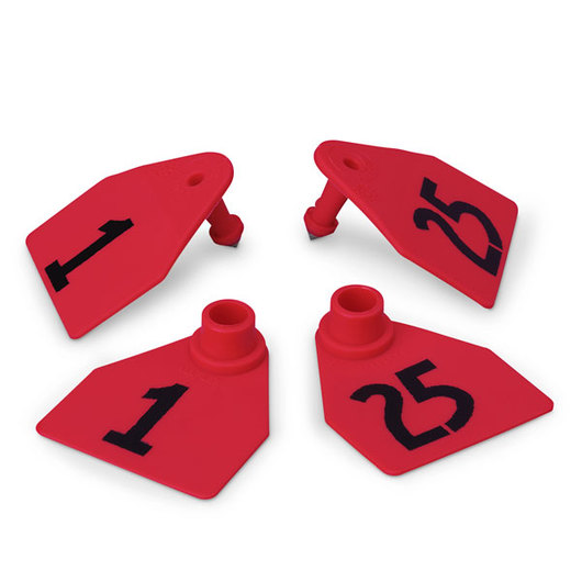 Allflex® Global Medium Double Female Numbered Tags (with Studs) - Red, Numbers 1-25