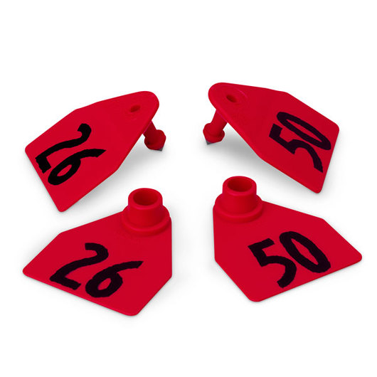 Allflex® Global Medium Double Female Numbered Tags (with Studs) - Red, Numbers 26-50