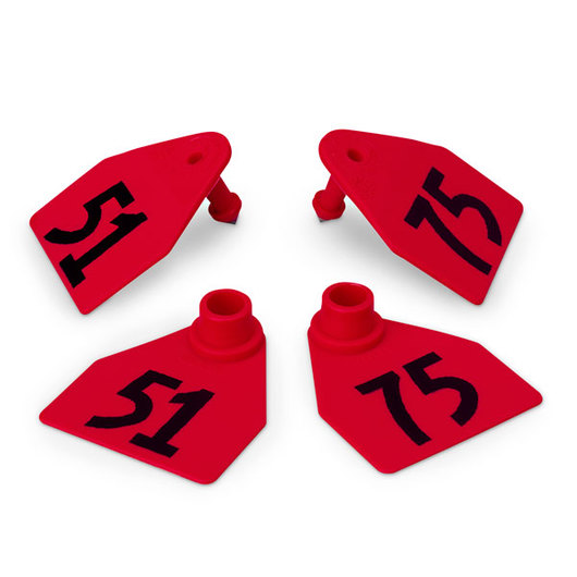 Allflex® Global Medium Double Female Numbered Tags (with Studs) - Red, Numbers 51-75