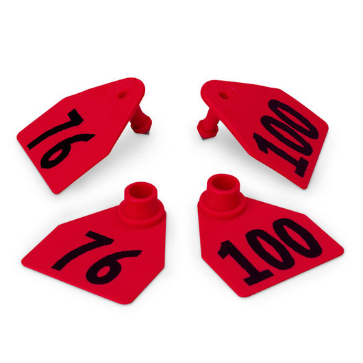 Allflex® Global Medium Double Female Numbered Tags (with Studs) - Red, Numbers 76-100