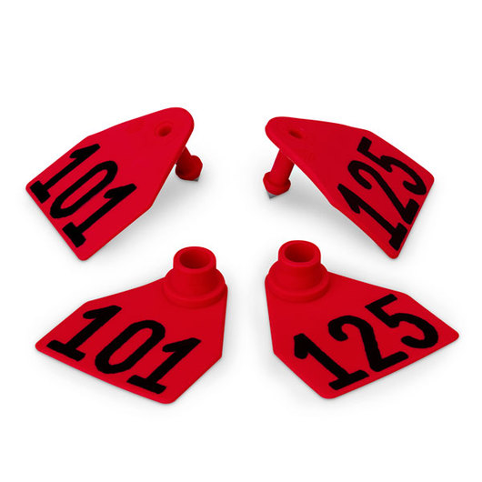 Allflex® Global Medium Double Female Numbered Tags (with Studs) - Red, Numbers 101-125