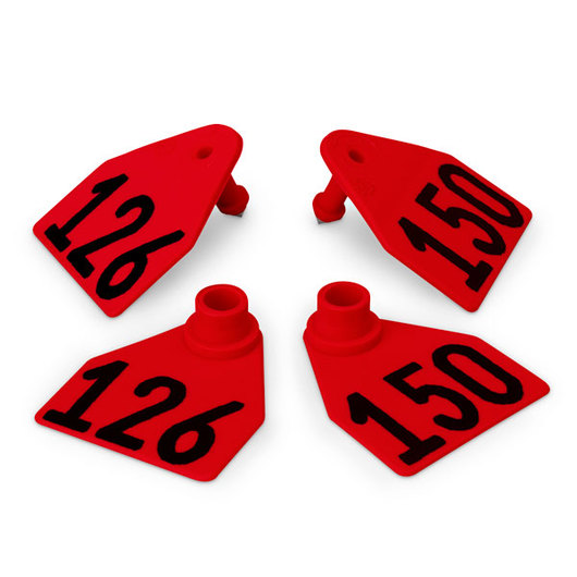 Allflex® Global Medium Double Female Numbered Tags (with Studs) - Red, Numbers 126-150