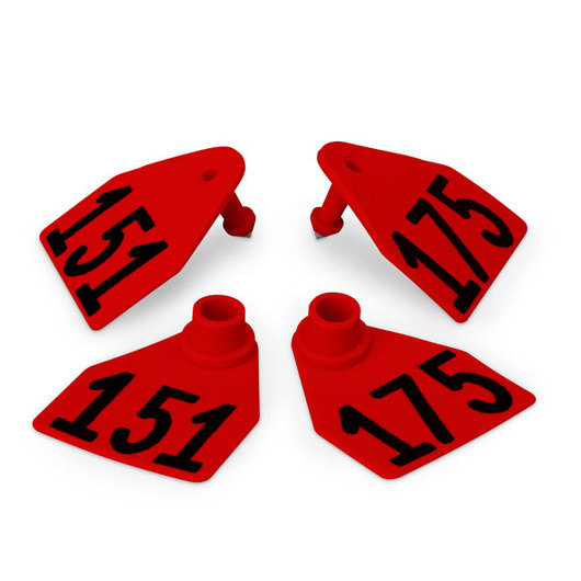 Allflex® Global Medium Double Female Numbered Tags (with Studs) - Red, Numbers 151-175