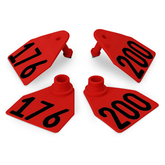 Allflex® Global Medium Double Female Numbered Tags (with Studs) - Red, Numbers 176-200