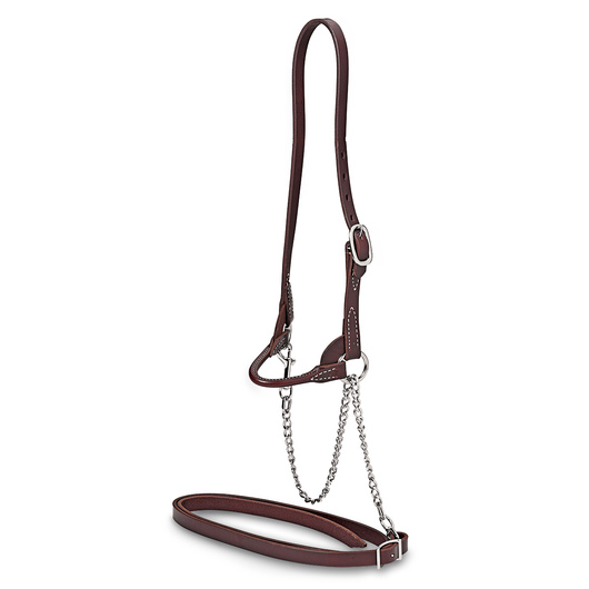 Nasco Single-Buckle Slimline Round Strap Show Halter - Yearling, Chocolate
