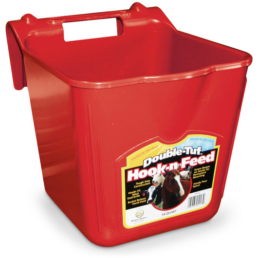 Double Tuf Hook-n-Feed 14-qt. Fence Feeder - Red