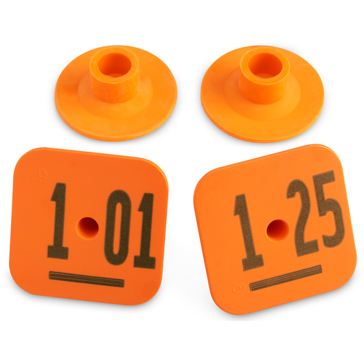 Destron Fearing™ Litter Max Numbered Hog Tags - Orange, Numbers 101-125
