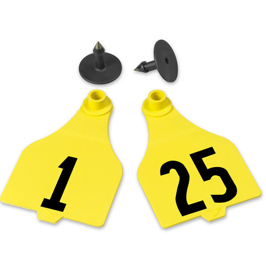Destron Fearing™ Extended Large Numbered Tags (with Studs) - Yellow, Numbers 1-25