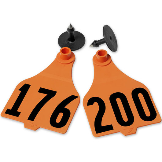 Destron Fearing™ Extended Large Numbered Tags (with Studs) - Orange, Numbers 176-200