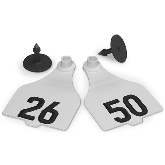 Destron Fearing™ Extended Large Numbered Tags (with Studs) - White, Numbers 26-50