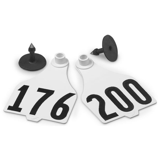 Destron Fearing™ Extended Large Numbered Tags (with Studs) - White, Numbers 201-1,000