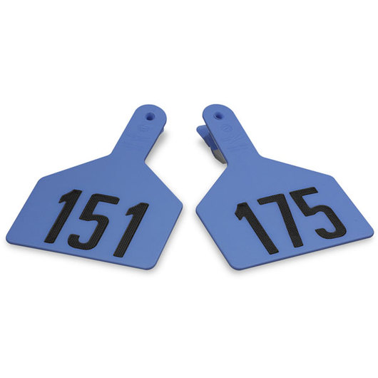 Z1 No-Snag-Tags® One-Piece Numbered Ear Tags, Cow Size, 3 in. x 4-1/2 in. - Blue, Numbers 151-175