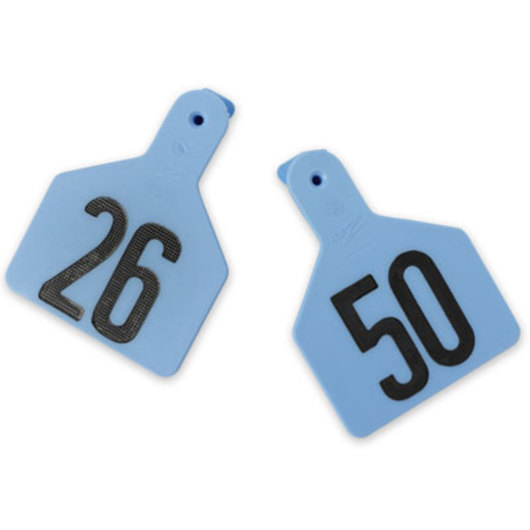 Z1 No-Snag-Tags® One-Piece Numbered Ear Tags, Calf Size 2-3/8 in. x 3-1/8 in. - Blue, Numbers 26-50