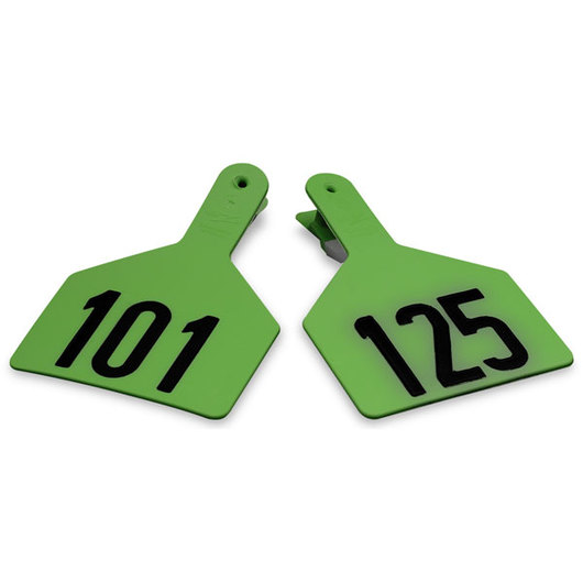 Z1 No-Snag-Tags® One-Piece Numbered Ear Tags, Cow Size 3 in. x 4-1/2 in. - Green, Numbers 101-125