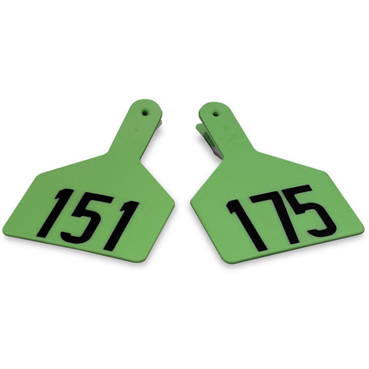 Z1 No-Snag-Tags® One-Piece Numbered Ear Tags, Cow Size 3 in. x 4-1/2 in. - Green, Numbers 151-175