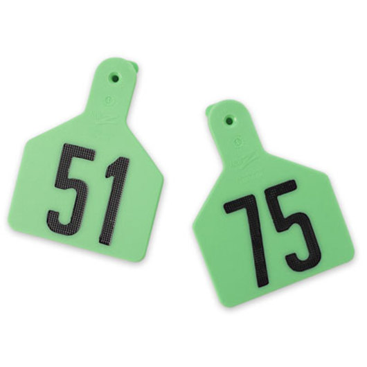 Z1 No-Snag-Tags® One-Piece Numbered Ear Tags, Calf Size, 2-3/8 in. x 3 1/8 in. - Green, Numbers 51-75