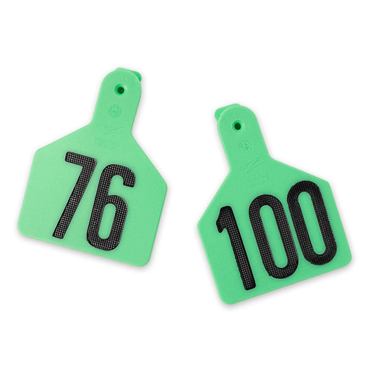 Z1 No-Snag-Tags® One-Piece Numbered Ear Tags, Calf Size, 2-3/8 in. x 3-1/8 in. - Green,  Numbers 76-100