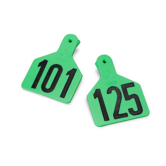 Z1 No-Snag-Tags® One-Piece Numbered Ear Tags, Calf Size, 2-3/8 in. x 3-1/8 in. - Green,  Numbers 101-125