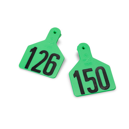 Z1 No-Snag-Tags® One-Piece Numbered Ear Tags, Calf Size, 2-3/8 in. x 3-1/8 in. - Green,  Numbers 126-150
