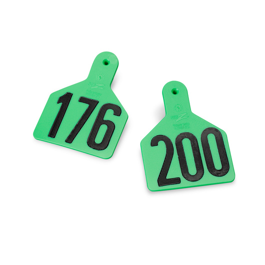 Z1 No-Snag-Tags® One-Piece Numbered Ear Tags, Calf Size, 2-3/8 in. x 3-1/8 in. - Green,  Numbers 201 and Up