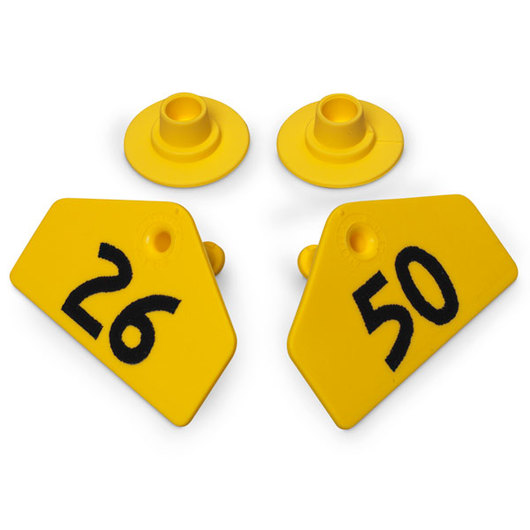 Allflex® Global Hog Male Numbered Tags - Yellow, Numbers 26-50