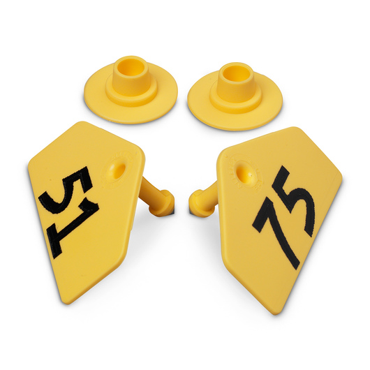 Allflex® Global Hog Male Numbered Tags - Yellow, Numbers 51-75