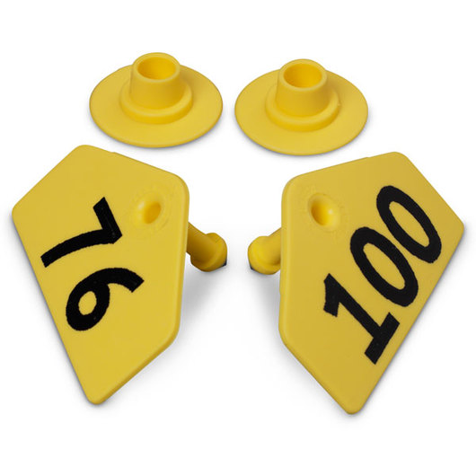 Allflex® Global Hog Male Numbered Tags - Yellow, Numbers 76-100