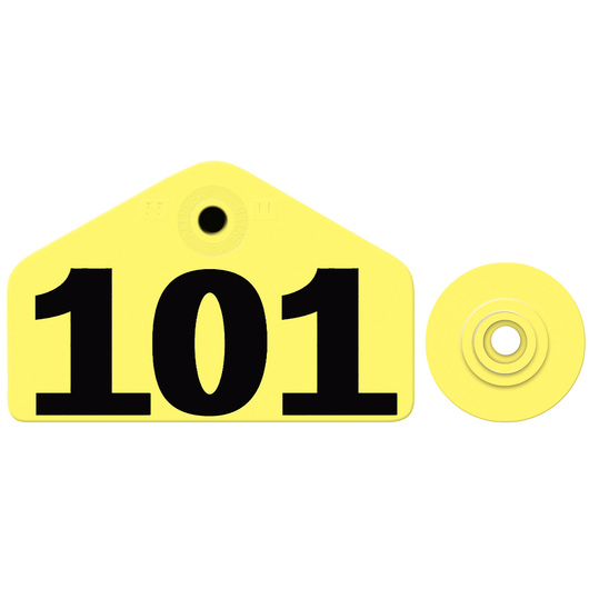 Allflex® Global Hog Male Numbered Tags - Yellow, Numbers 101-1,000