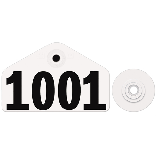 Allflex® Global Hog Male Numbered Tags - White, Numbers 1,001-999,999