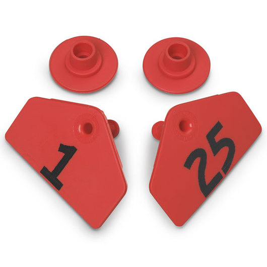 Allflex® Global Hog Male Numbered Tags - Red, Numbers 1-25