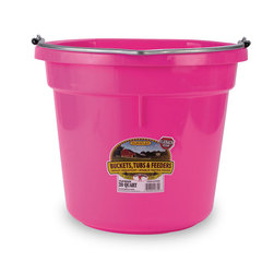 5-Gallon Flat-Back Plastic Bucket - Hot Pink