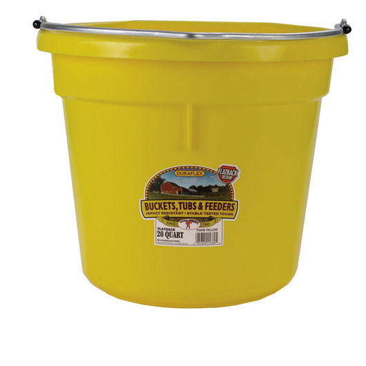 Plastic Bucket - 5-Gallon Flat Back - Yellow