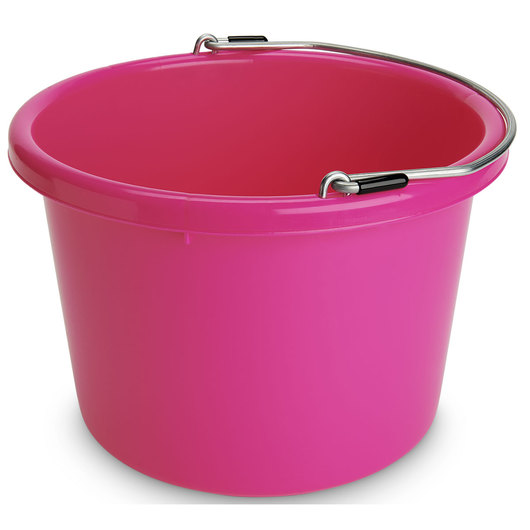 Plastic Bucket - 2 Gallon Round - 11-1/2 in. x 8-3/8 in. - Hot Pink