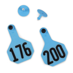 Y-TEX® Medium 2-1/2 in. x 4 in. 3-Star Ear Tags (with Studs) - Blue, Numbered 176 - 200