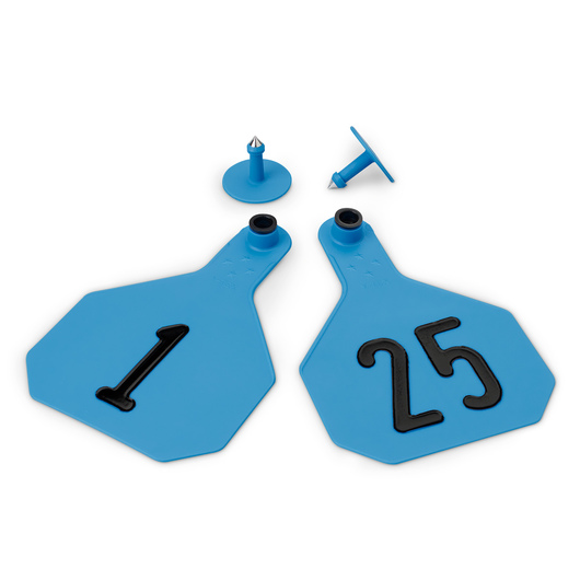 Y-TEX® Large 3-1/4 in. x 4-3/4 in. 4-Star Ear Tags (with Studs) - Blue, Numbered 1-25