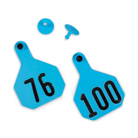 Y-TEX® Large 3-1/4 in. x 4-3/4 in. 4-Star Ear Tags (with Studs) - Blue, Numbered 76-100