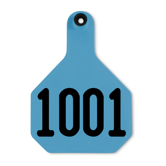 Y-TEX® Large 3-1/4 in. x 4-3/4 in. 4-Star Ear Tags (with Studs) - Blue, Numbered 1,001-10,000