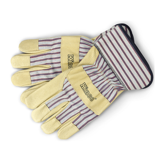 Kinco® Pigskin Palm Unlined Work Gloves with Shirred Elastic Wristband and Cuff - Large