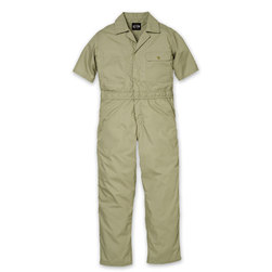 Key Industries Mens Khaki Short-Sleeved Lightweight Poplin Unlined Coveralls