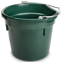 5-Gallon, Flat Back (14-3/4 x 13) Plastic Bucket - Hunter Green
