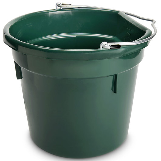 Plastic Bucket - 5-Gallon Flat Back (14-3/4 in. x 13 in.) - Hunter Green