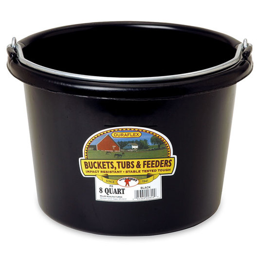 Plastic Bucket - 2 Gallon Round - 11-1/2 in. x 8-3/8 in. - Black